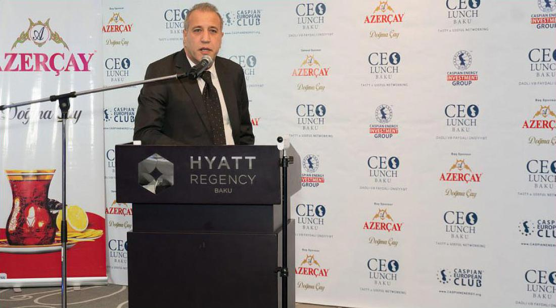 CTI CEO Serhat Eroglu gives a presentation at CEO Lunch Baku event